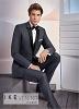 "Ike Behar ""Xavier"" Charcoal Tuxedo with Black Peak Lapel"